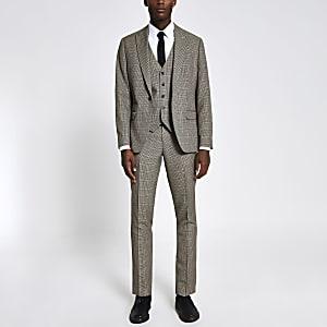 Smalle bruine geruite pantalon