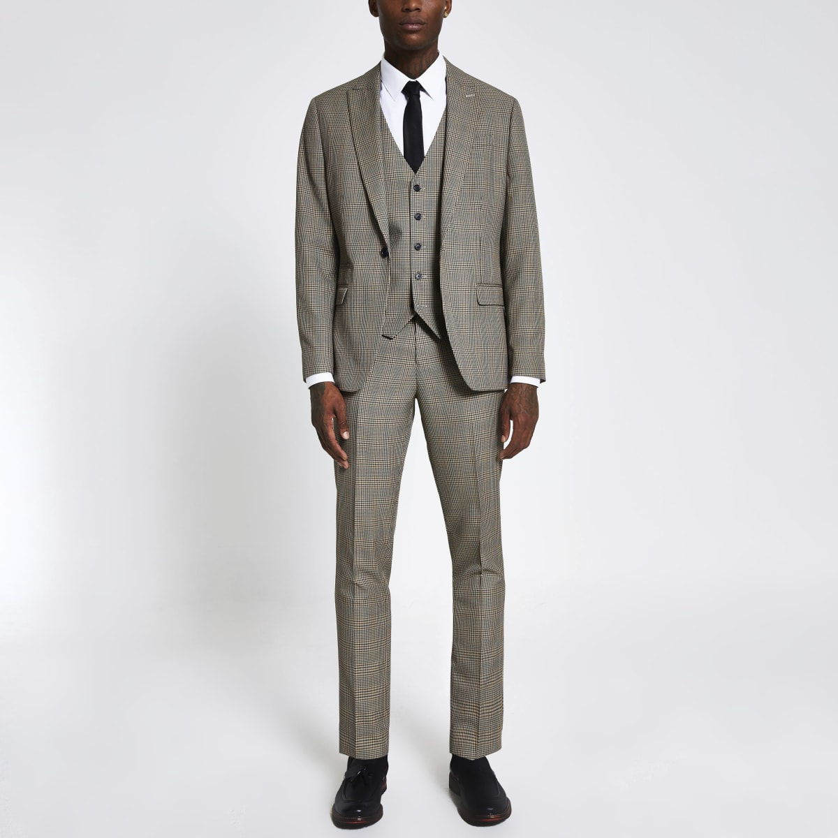 Brown check slim suit trousers