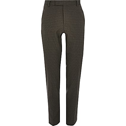 Brown check super skinny crop trousers