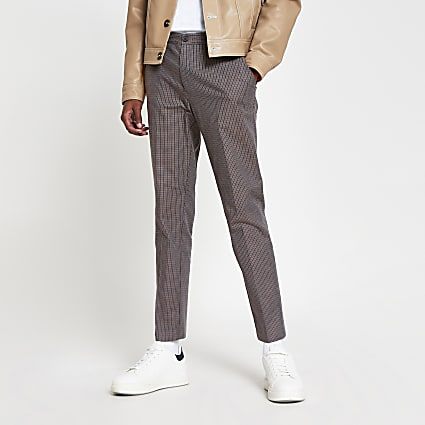 Brown check super skinny fit trousers