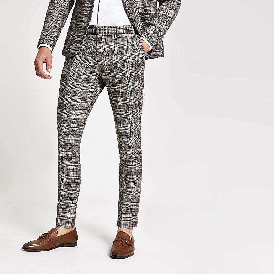 Bruine geruite superskinny pantalon