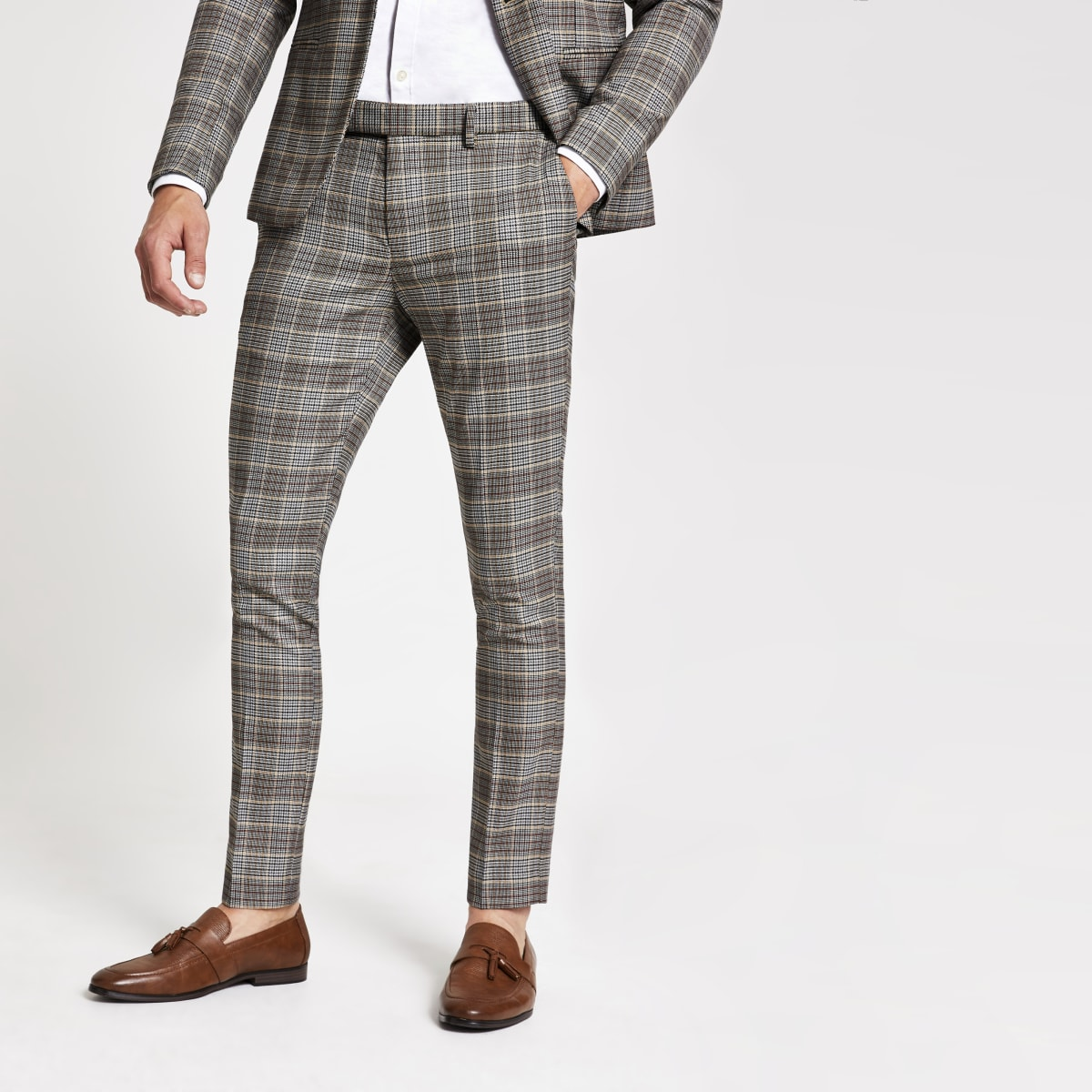 Brown check super skinny suit trousers
