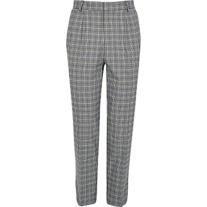 Brown check tapered pleat trousers