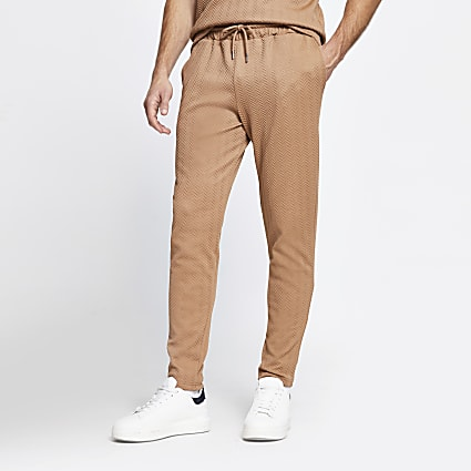 Brown chevron slim fit joggers