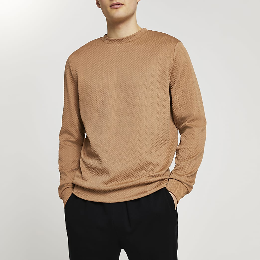 Brown chevron textured sweatshirt