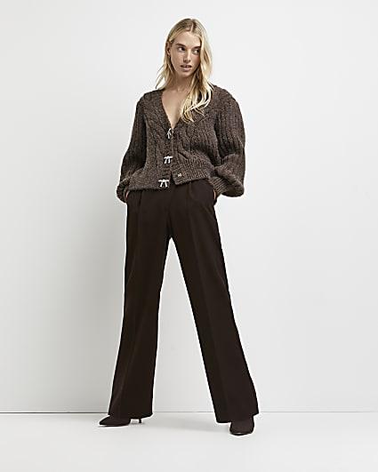 Brown chunky knit cardigan