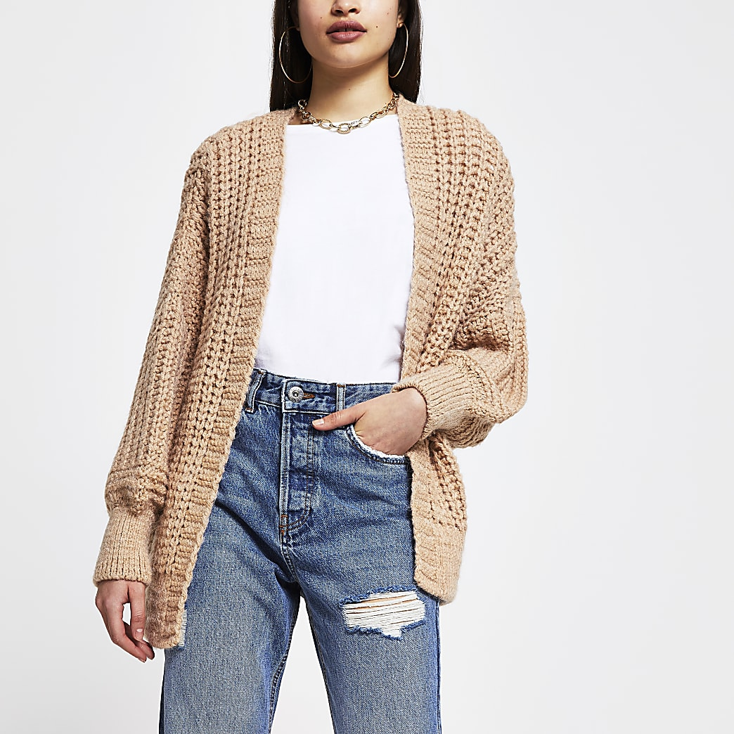 Brown chunky ribbed long sleeve cardigan