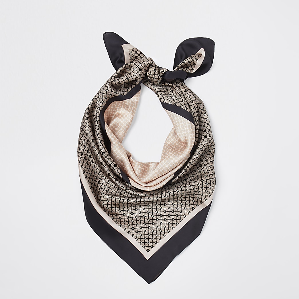 Brown classic logo scarf