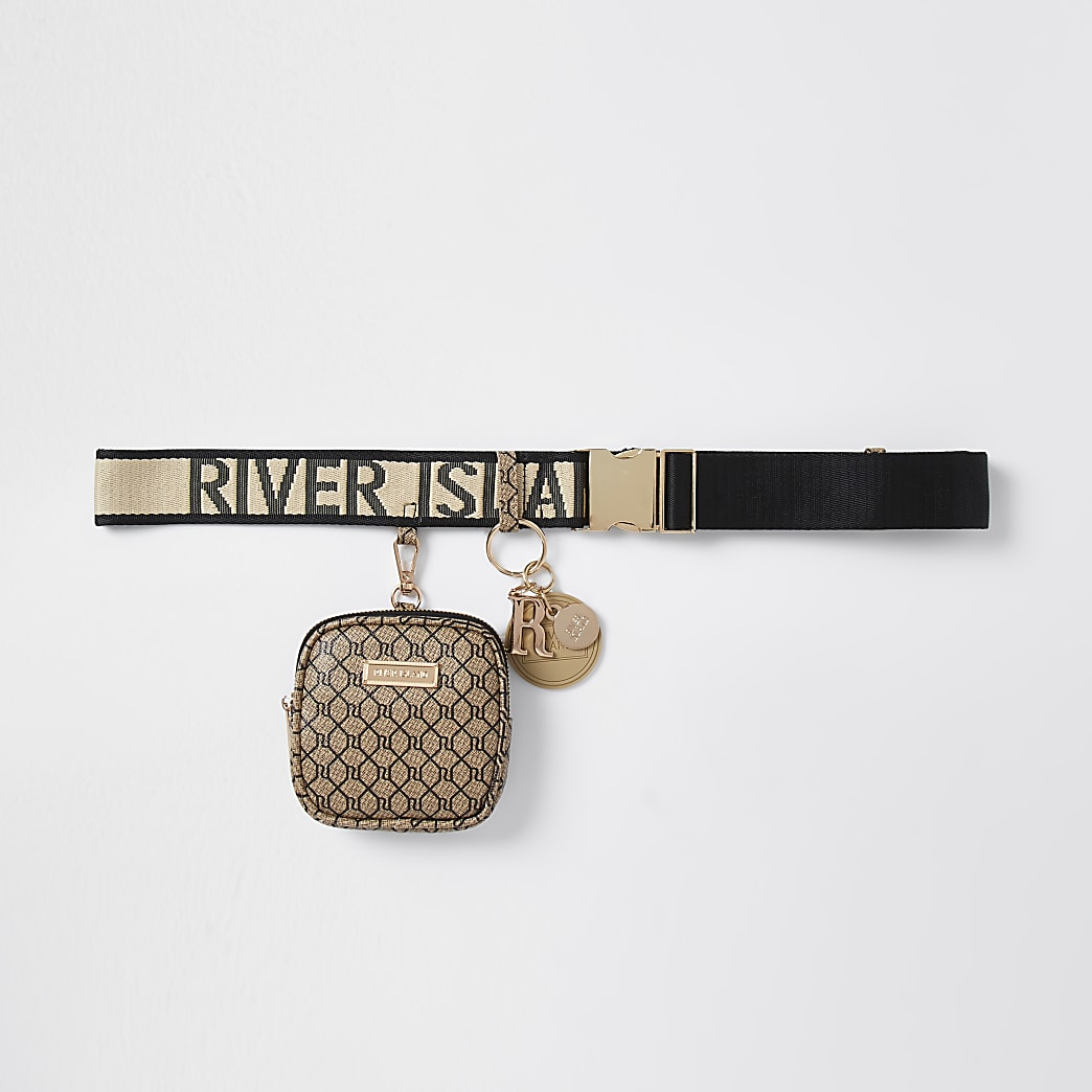 Brown clip on purse belt