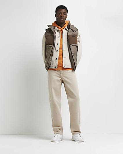 Brown colour block hooded gilet