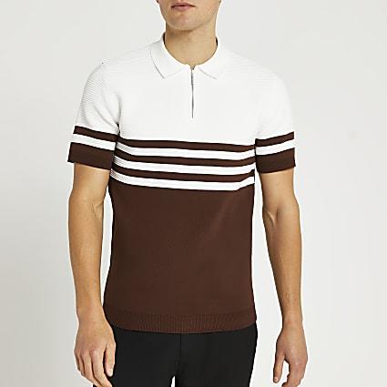 Brown colour block slim fit polo shirt