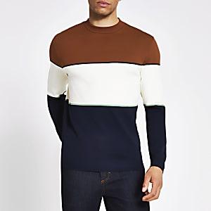 Bruine gebreide slim-fit trui met kleurvlakken