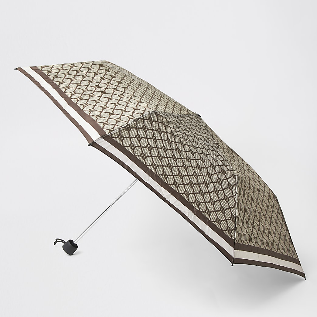 Brown compact RI monogram umbrella