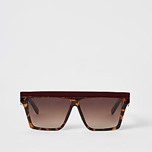 Braune Visor-Sonnenbrille mit Kontrast-Braue