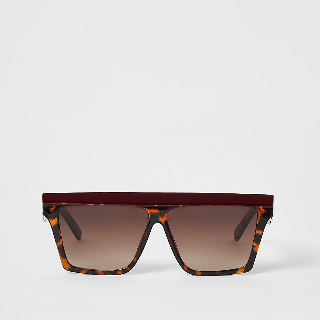 Brown contrast brow visor sunglasses