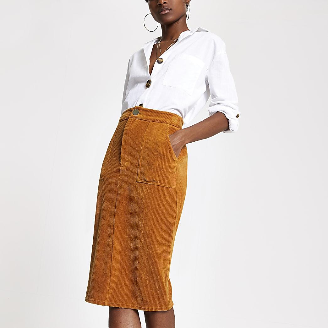 Jupe crayon fonctionnelle en velours côtelé marron