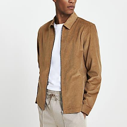 Brown corduroy zip up shacket