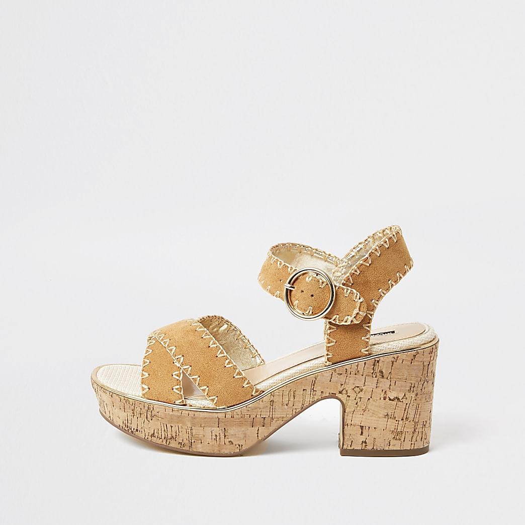Brown cork platform sandal