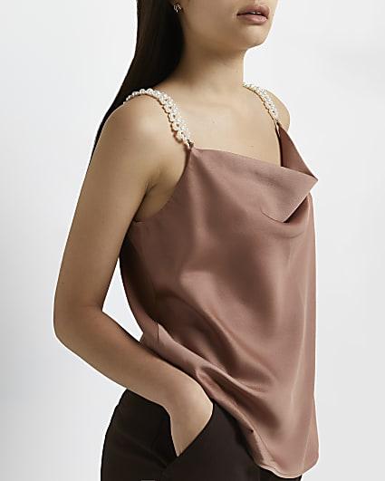 Brown cowl neck pearl strap cami top