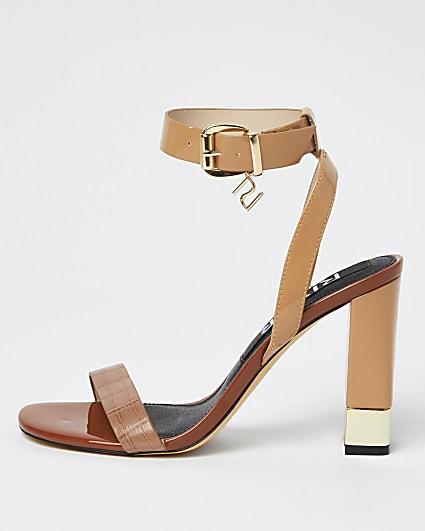 Brown croc embossed block heels
