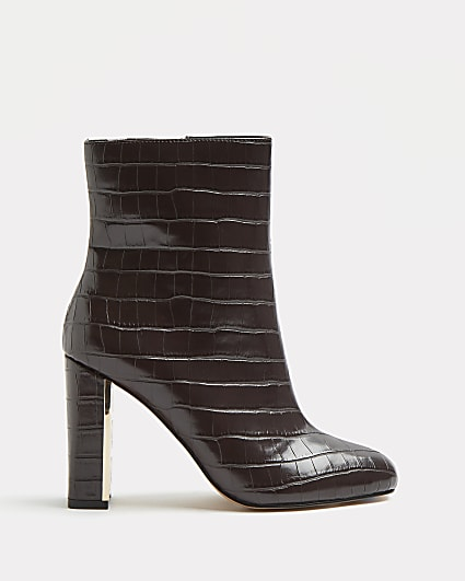 Brown croc embossed heeled ankle boots