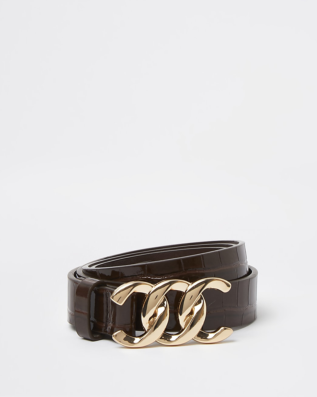 Brown croc embossed patent buckle belt