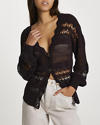 Brown crochet cardigan