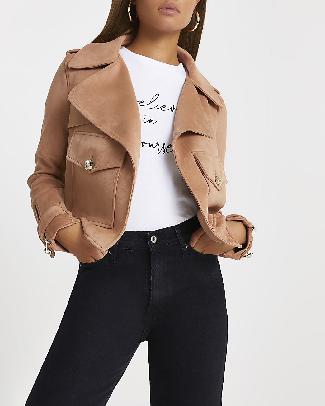 Brown crop pocket detail suedette jacket