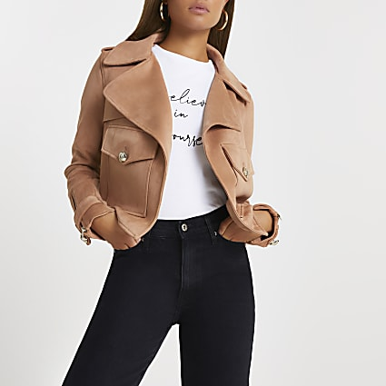 Brown crop pocket detail suedette jacket