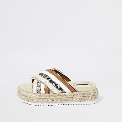 Brown cross strap espadrille sandals