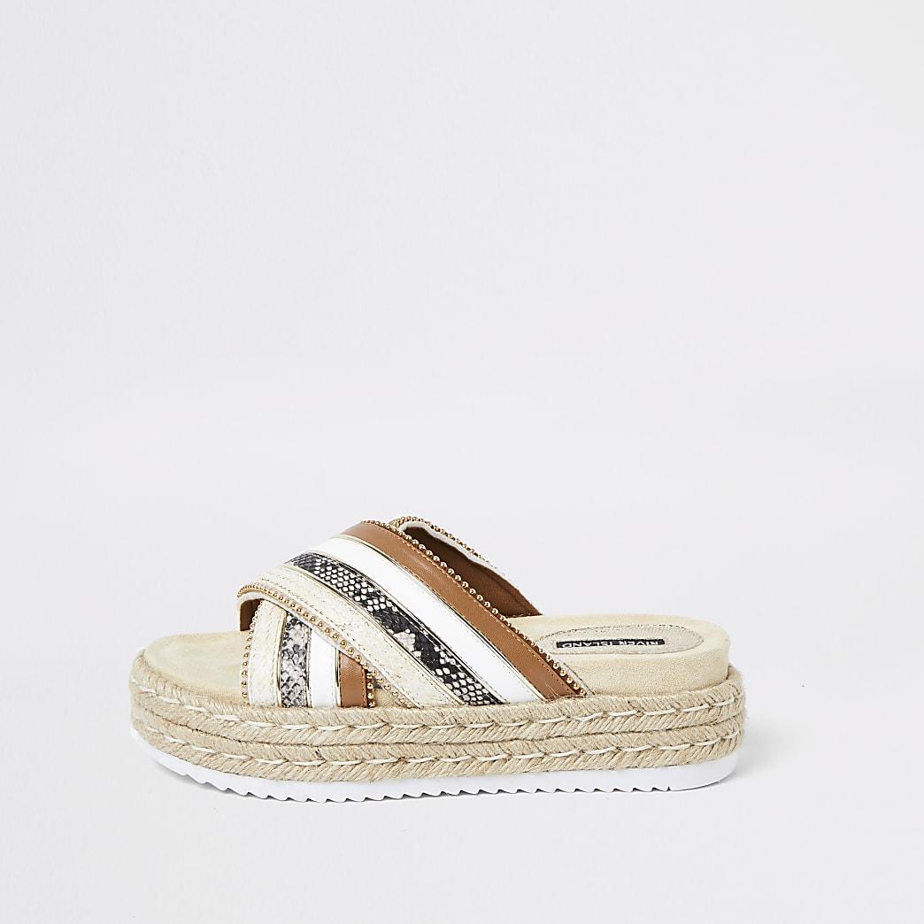 Brown cross strap espadrille sandals
