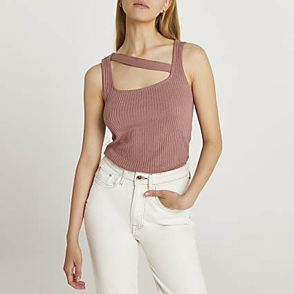 Brown cut out neckline vest top