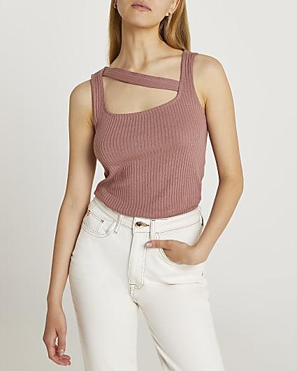 Brown cut out vest top