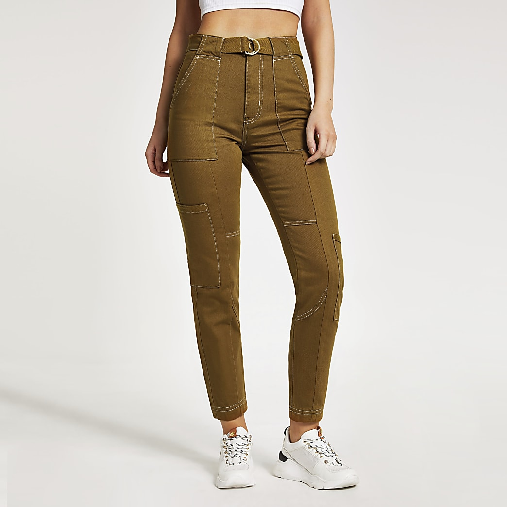 Brown D-ring belted cargo trousers