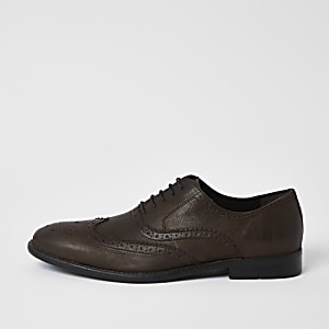 Brown distressed leather derby brogues