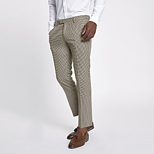 Pantalon skinny court motif pied-de-poule marron