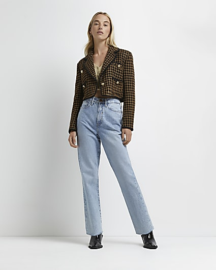 Brown dogtooth boucle cropped blazer