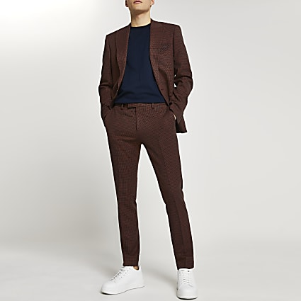 Brown dogtooth check skinny fit suit trousers