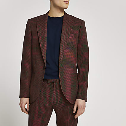 Brown dogtooth skinny fit suit jacket