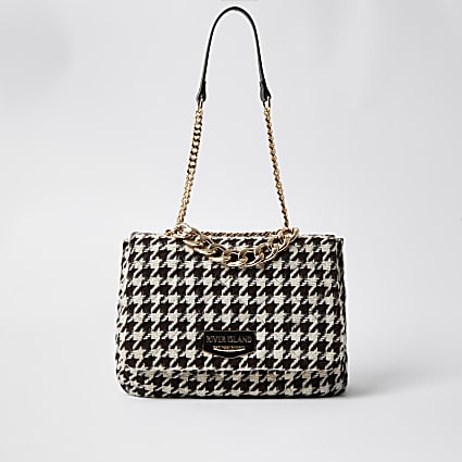 Brown dogtooth soft underarm shoulder handbag