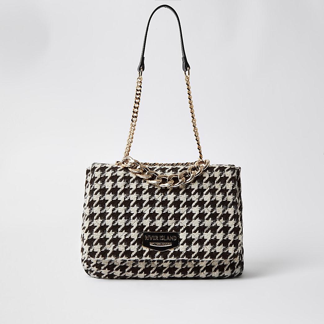 Brown dogtooth soft underarm shoulder handbag
