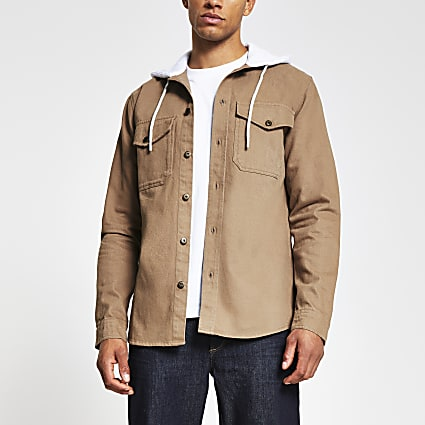 Brown double pocket hooded shacket