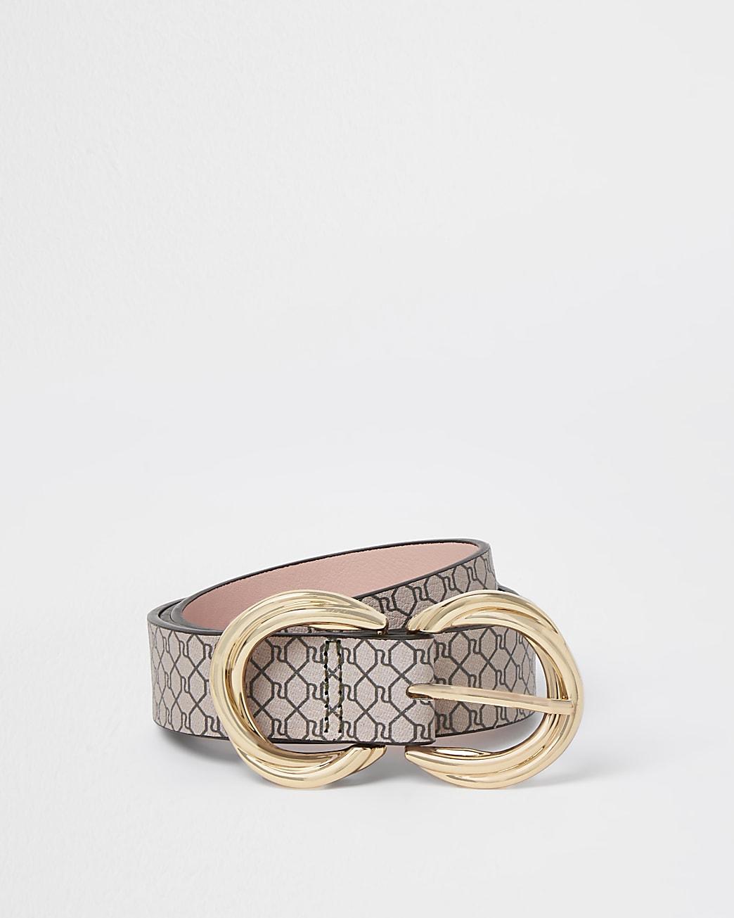 Brown double twist buckle logo belt