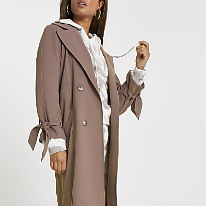 Brown drawcord waist duster coat