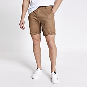 Brown Dylan slim fit shorts