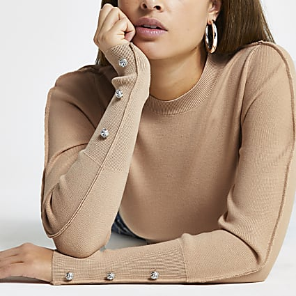 Brown embellished long sleeve knit top