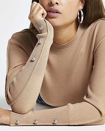 Brown embellished long sleeve knit top