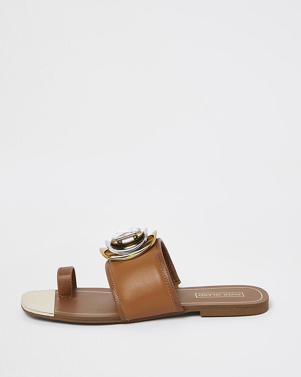 Brown embellished open toe sandals