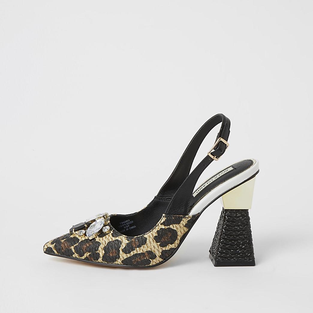 Brown embellished slingback heel sandals