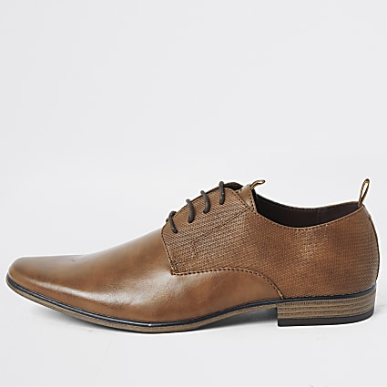 Brown embossed tape derby shoes